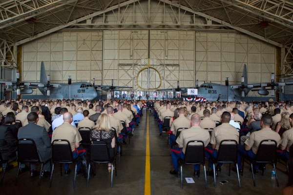 An audience waits for the invocation of a memorial ceremony to honor nine U.S. Marines assigned to Marine Aerial Refueler Transport Squadron 452, at Stewart Air National Guard Base in Newburgh, New York, Aug. 27, 2017. The memorial was held to honor the lives of nine VMGR-452 Marines who perished in a KC-130T accident that killed 15 Marines and one Sailor, July 10, 2017. (Cpl. Dallas Johnson/U.S. Marine Corps)
