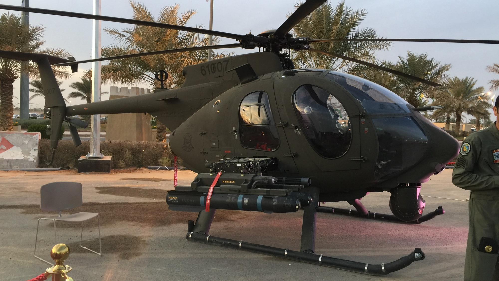 A Saudi Arabian National Guard AH-6i light attack helicopter sits on display Feb. 10, 2018. (Wikimedia)