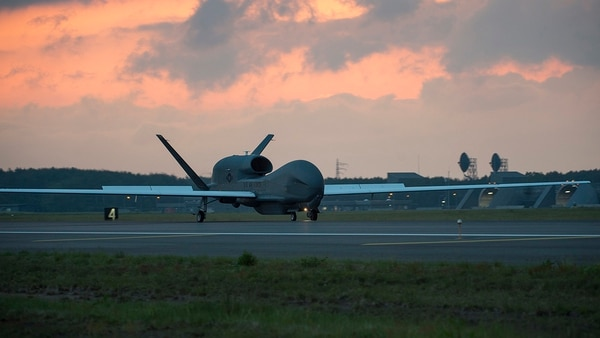 An RQ-4 Global Hawk lands at Misawa Air Base, Japan on June 1 for a temporary intra-theater deployment. (Staff Sgt. Deana Heitzman/Air Force)
