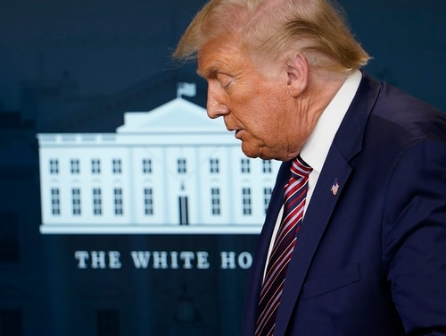 President Donald Trump attends a news conference in the James Brady Press Briefing Room at the White House, Wednesday, Aug. 12, 2020, in Washington. (Andrew Harnik/AP)