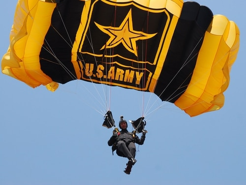 A member of the Golden Knights lands during a demonstration jump at the African Aerospace & Defence Exposition at Waterkloof Air Force Base, Pretoria, South Africa on Sept. 18, 2014. (Staff Sgt. Patricia Austin/Army)