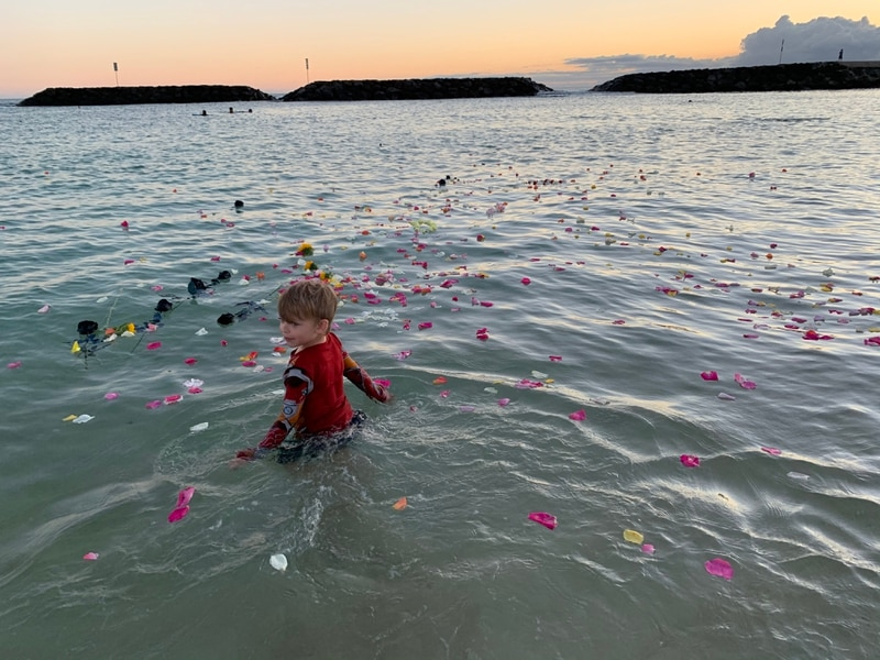 On July 16, what would have been the second birthday of Abigail Lobisch, her brother Zachariah, 4, wades into the water where flowers were scattered in her memory. (Photo courtesy of Anna Lobisch)