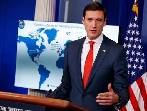 White House Homeland Security Adviser Tom Bossert speaks during a briefing blaming North Korea for a ransomware attack that infected hundreds of thousands of computers worldwide in May and crippled parts of Britain's National Health Service, at the White House, Tuesday, Dec. 19, 2017, in Washington. (Evan Vucci/AP)