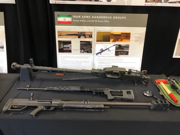 A sample of weapons on display by U.S. officials made by Iranian facilities, often made to look like arms and munitions from other nations. Pictured here the Iranian Nakhjir sniper rifle, a copy of the Chinese Type 85 sniper rifle, itself a copy of the Russian SVD Dragunov sniper rifle and the AM-50, an Iranian copy of the Austrian Styer HS .50-caliber rifle. (Todd South/Military Times)