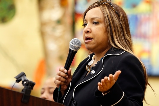 Former Trump administration official Lynne Patton has been barred from holding a federal job for four years after she 'improperly harnessed the authority of her federal position to assist the Trump campaign.' (Kathy Willens/AP)