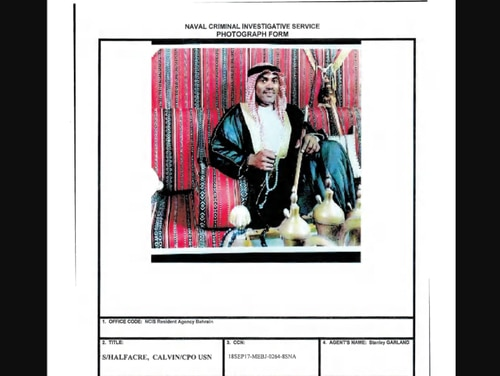 An image of then-Chief Logistics Specialist Calvin Halfacre from a Naval Criminal Investigative Service against him for alleged sex crimes committed while he was stationed in Bahrain in 2017. (Navy)