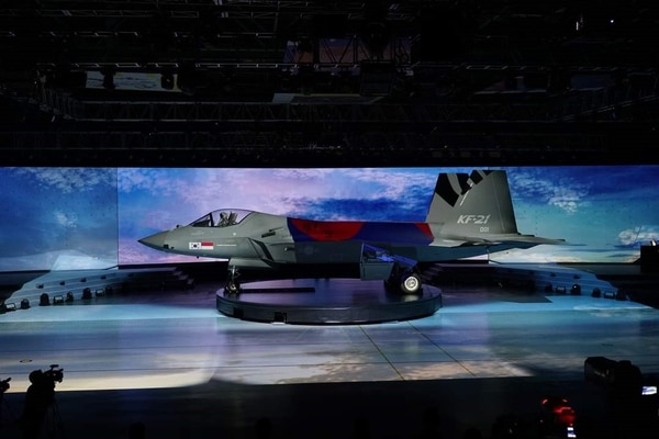 The prototype of the twin-engine jet KF-21 Boramae was showcased during a rollout ceremony at the headquarters of Korea Aerospace Industries. (South Korea's Defense Acquisition Program Administration)