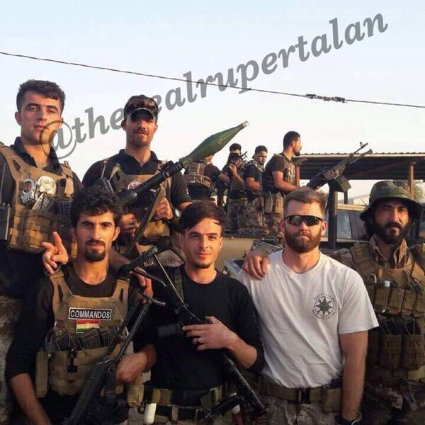 Ben Alexander, featured in the white t-shirt, is an American volunteer with Kurdish Peshmerga forces and is a former U.S. Army infantry officer. He goes by the nom de guerre of Rupert Alan. (Courtesy Photo/Ben Alexander @therealrupertalan)