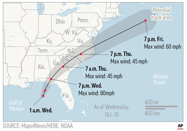 This map shows the probable path of Hurricane Michael which made landfall Wednesday. The storm is expected to hit many military-heavy areas that were just struck by Hurricane Florence. Credit: Associated Press