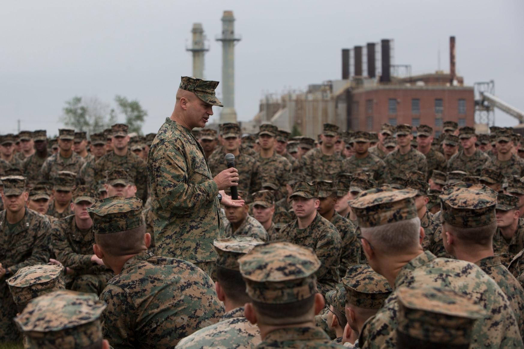 Maj. Gen. David Furness, the commanding general of 2nd Marine Division, addresses 6th Marine Regiment, 2nd Marine Division, during an award ceremony for Regiment Week on Camp Lejeune, North Carolina, Nov. 9, 2018. (Cpl. Christian J. Robertson/Marine Corps)