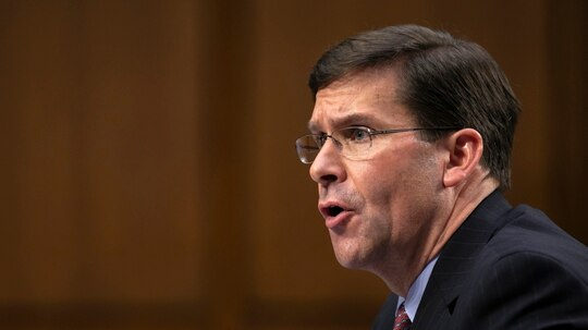 Defense Secretary Mark Esper testifies to the Senate Armed Services Committee about the budget on March 4, 2020, on Capitol Hill in Washington. (Jacquelyn Martin/AP)