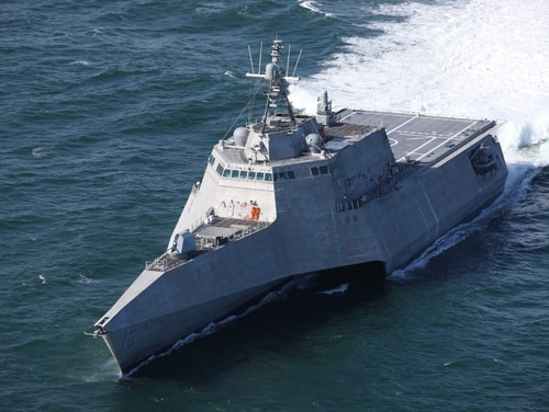 The LCS Tulsa underway for acceptance trials in the Gulf of Mexico. The sensor packages destined for the littoral combat ships are caught in a cycle of budget cuts and delays. (Austal USA)