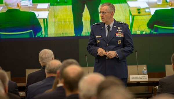 Gen. John Hyten, the commander of U.S. Strategic Command, addresses the crowd at an AUSA event in Arlington, Va., on Feb. 28, 2018. (Jeff Martin/Staff)