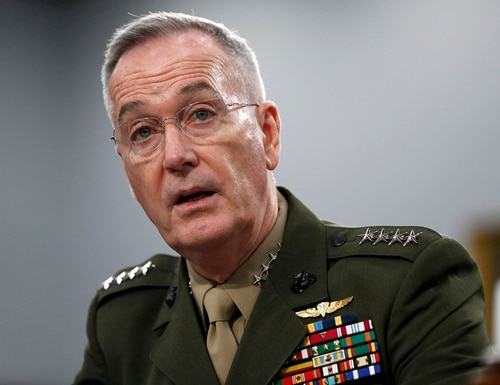 In this May 1, 2019, file photo, Joint Chiefs of Staff Chairman Gen. Joseph Dunford testifies during a House Appropriations subcommittee on budget hearing on Capitol Hill in Washington. (Jacquelyn Martin/AP)