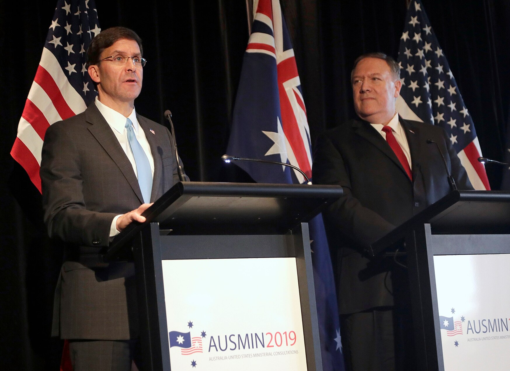 U.S. Secretary of Defense Mark Esper, left, and U.S. Secretary of State Mike Pompeo brief the media at a press conference following annual bilateral talks with Australian counterparts in Sydney, Australia, Sunday, Aug. 4, 2019. (Rick Rycroft/AP)