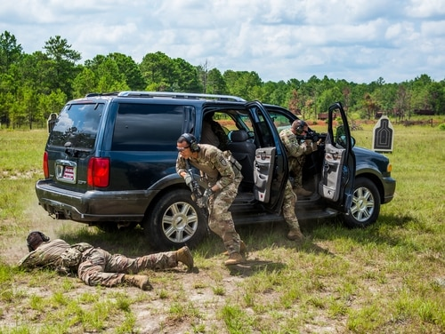 Soldiers from the 1st Security Force Assistance Brigade conduct a small team live-fire exercise demonstration July 09, 2019, at Duke Range on Fort Benning, Georgia. (Patrick Albright/Army)