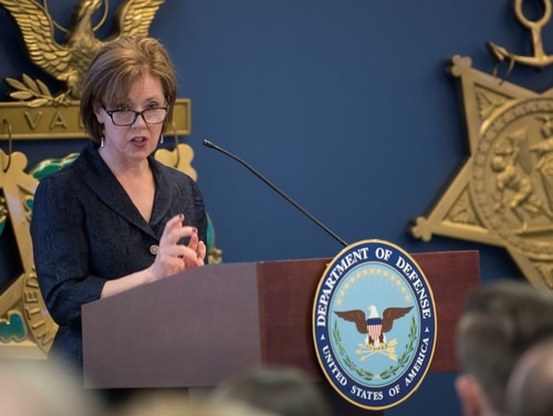 U.S. Department of Defense Acting Chief Management Officer Lisa Hershman delivers remarks at the inaugural DOD Gears of Government Awards, at the Pentagon, Washington, D.C., May 1, 2019. (DoD photo by Lisa Ferdinando)