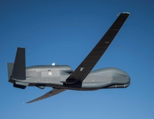 The first Northrop-Grumman RQ-4B Global Hawk unmanned aircraft destined for Japan took its maiden flight in the United States in April 2021. (Northrop Grumman photo)
