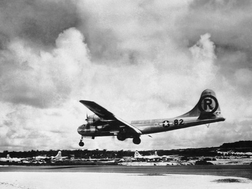 WWII veterans recall the tough missions leading up to Hiroshima and the efforts to hide the Enola Gay, seen here returning from dropping the atomic bomb on that city 75 years ago today. (AP Photo/Max Desfor)