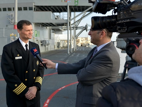 Capt. Kavon Hakimzadeh, then the commanding officer of the command and control ship Mount Whitney, was interviewed by Maltese media in Valletta on Jan. 20, 2018. (Navy)
