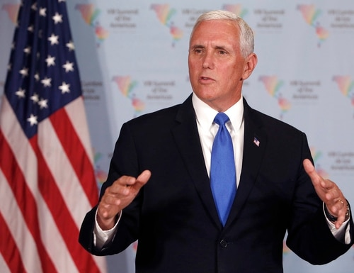 U.S. Vice President Mike Pence speaks during a press conference at the Summit of the Americas in Lima, Peru, Saturday, April 14, 2018. (Karel Navarro/AP)