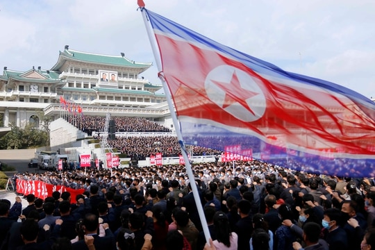 Thousands rally to welcome the 8th Congress of the Workers' Party of Korea at Kim Il Sung Square in Pyongyang, North Korea, Oct. 12, 2020. (Jon Chol Jin/AP)