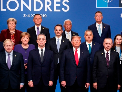 NATO heads of government pose for the family photo at the NATO summit on Dec. 4, 2019, in London. (Adrian Dennis/AFP via Getty Images)