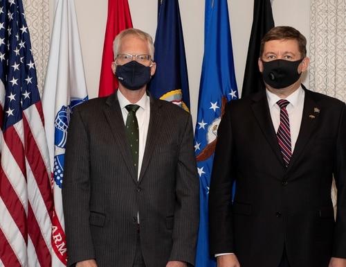 Acting U.S. Defense Secretary Christopher Miller hosts a bilateral meeting with Lithuanian Defence Minister Raimundas Karoblis at the Pentagon on Nov. 13, 2020. (Marvin Lynchard/U.S. Defense Department)
