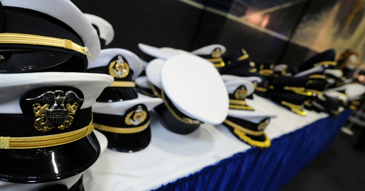 Navy Senior Enlisted And Officer Covers Dot A Table During Reception In The Hangar Of Carrier Ronald Reagan Singapore Port Call 2008