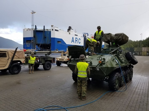 A new anti-tank version of the Light Armored Vehicle with II Marine Expeditionary Force is off-loaded in preparation for exercise Trident Juncture in Hammernesodden, Norway, Sept. 23. (Marine Corps)