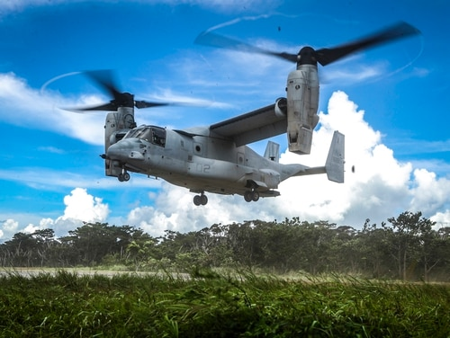 An MV-22 Osprey prepares to land during a helicopter insertion exercise at the Jungle Warfare Training Center aboard Camp Gonsalves, Okinawa, Japan, July 17, 2017. (Cpl. Aaron S. Patterson/Marine Corps)