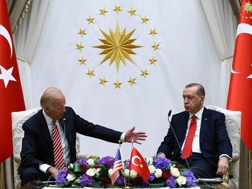 In this Aug. 24, 2016, file photo, U.S. Vice President Joe Biden, left, and Turkish President Recep Tayyip Erdogan speak to the media after a meeting in Ankara, Turkey. (Kayhan Ozer/Presidential Press Service Pool via AP, File)