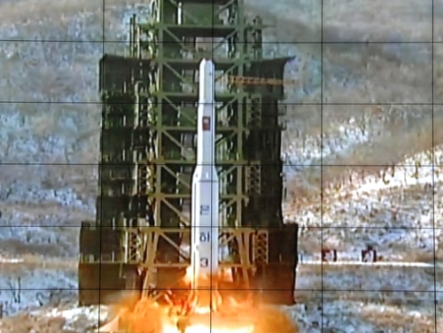 In this Dec. 12, 2012, file photo, a screen at the General Satellite Control and Command Center shows the moment North Korea's Unha-3 rocket is launched in Pyongyang, North Korea. (AP)