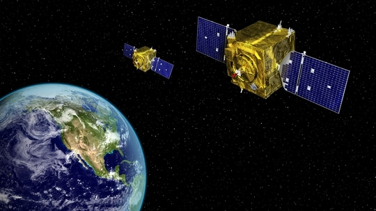 An artist's rendering of satellites from the Air Force's Geosynchronous Space Situational Awareness Program, a previously classified surveillance satellite program. (U.S. Air Force)