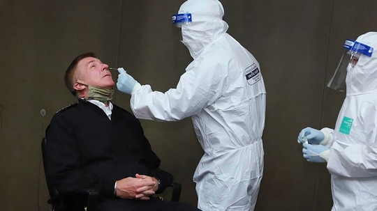 Amy Chief of Staff Gen. James McConville takes a coronavirus test upon arriving in Thailand for an official visit. (Royal Thai Army via AP)