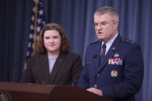 Air Force Deputy Assistant Secretary for Budget Maj. Gen. James F. Martin Jr. and Air Force Deputy for Budget Carolyn M. Gleason conduct a briefing about the FY2017 budget at the Pentagon in Arlington, Va., on Tuesday, February 9, 2016. (Mike Morones/Staff)