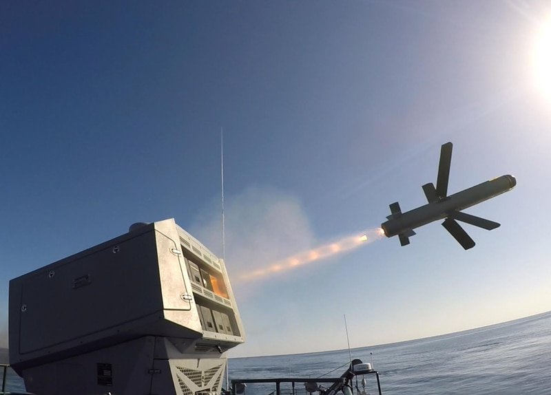 A naval version of the Spike missile launches at sea. (Rafael Advanced Defense Systems)