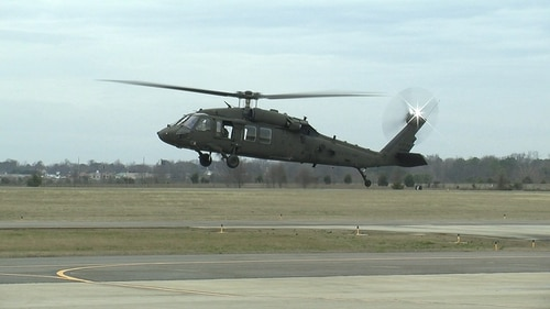 An engineering development model UH-60V Black Hawk hovers above the runway as part of its successful initial test flight Jan. 19, 2017, in Meridianville, Alabama. The UH-60V is being designed to update existing UH-60L analog architecture with a digital infrastructure to address evolving interoperability and survivability requirements. (U.S. Army)