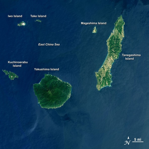 This Landsat 8 satellite image, taken April 13, 2013, shows some southern Japanese islands, including Mageshima. (Mike Taylor/NASA and U.S. Geological Survey)