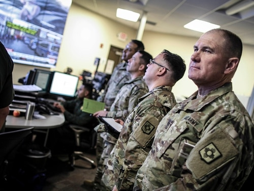 The New Mexico Army National Guard Liaison Team visited the U.S. Border Patrol El Paso Sector Intelligence Operations Center to meet and coordinate preparations for their upcoming deployment in support border enforcement April 7, 2018. (Agent Marcus Trujillo/U.S. Border Patrol)
