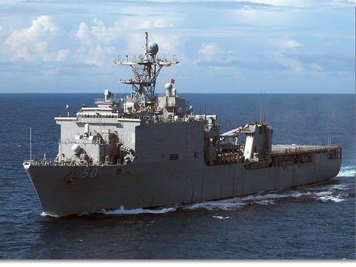 Sailors aboard the dock landing ship Carter Hall tested positive for COVID-19 last month. (Navy)