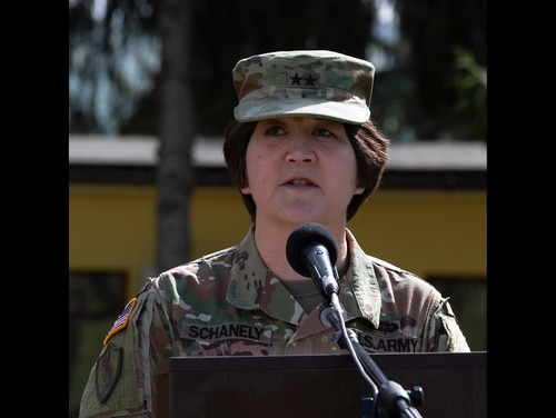 U.S. Army Maj. Gen. Miyako Schanely, commanding general of the 416th Theater Engineer Command, addresses attendees during the opening ceremony of Resolute Castle 2019 at Cincu Joint National Training Center, Romania, April 24, 2019. (Staff Sgt. True Thao/Army)