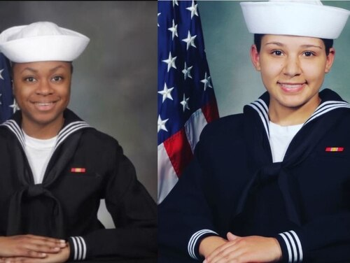Seaman Recruits Kierra Evans, left, and Kelsey Nobles died while exercising at Great Lakes, Illinois. (Navy)