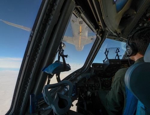 Capt. Ryan Arsenault, 7th Airlift Squadron pilot, prepares to dock with a KC-46 Pegasus during a refueling training flight over central Wash., Jan. 30, 2019. The KC-46 is the newest tanker aircraft in the Air Force. (A1C Sara Hoerichs/U.S. Air Force)