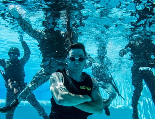 Cpl. Daniel Ramech, a Marine Corps Instructor of Water Survival, at Camp Pendleton, California, June 14. (Sgt. Rodion Zabolotiny/Marine Corps)