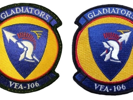 Three former leaders at Strike Fighter Squadron 106 contend that Lt. Steven Shaw handed out to students a morale patch, right, that violently inverts the meaning of the official unit insignia on the left. (U.S. District Court)
