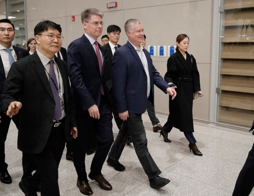 U.S. Special Representative for North Korea Stephen Biegun, center, arrives at Incheon International Airport in Incheon, South Korea, Sunday, Dec. 15, 2019. (Lee Jin-man/AP)