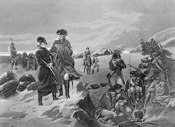 This drawing shows French military leader Marquis de Lafayette, left, with Gen. George Washington at Valley Forge during the winter of 1777-78. (AP)