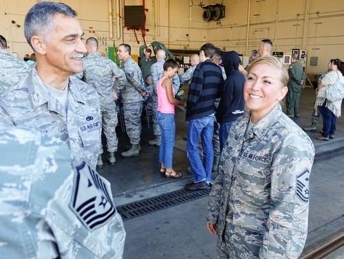 Master Sgt. Jan Medina, a first sergeant assigned to the 139th Maintenance Group in the Missouri Air National Guard, talks with fellow first sergeants at Rosecrans Air National Guard Base in St. Joseph in October 2015. The Air Force is now selecting new first sergeants from a combination of nominations and volunteers. (Tech. Sgt. Michael Crane/Air National Guard)