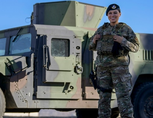 Senior Airman Kiah Cook, 377th Security Forces Group defender, wears the new female body armor on Kirtland Air Force Base, New Mexico, Feb. 4. (Airman 1st Class Ireland Summers/Air Force)